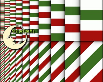 """20 Digital Papers Christmas Red Green and White Stripes Horizontal Diagonal Paper Pack 12"""" Papers - Instant Download - Commercial Use 00070"""