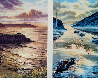"""Little Haven & Solva."""" Five Pounds Off a pair of framed, signed and limited prints. Seascape, Beach, Boat and Coastal Originals and prints."""