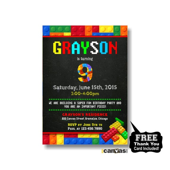 ... Lego Birthday Party Card. Lego Theme Birthday Invitation. Printable or