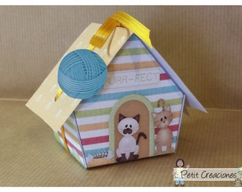 """PRINTABLE GIFT (or treats) BOX """"Cat house"""" (digital template)"""