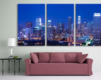 Los Angeles skyline at night, 3 Panel Split, Triptych Canvas Print - Downtown LA cityscape for home or office wall decor & interior design