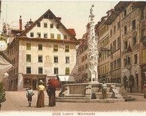 Weinmarkt, Luzerne, Switzerland, circa 1910 Antique Unused Swiss Color Postcard, Edition Photoglob #2533