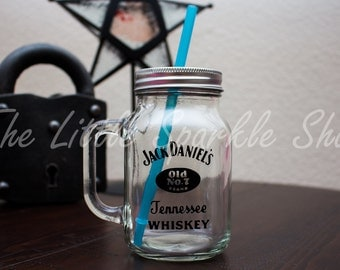 Jack Daniels inspired mason jar, tumbler, with straw