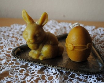 Beeswax Rabbit and Egg Candles - Easter Candle, Easter decoration, gift