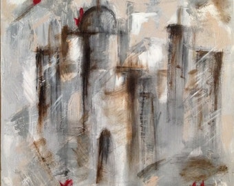 """Hand painting in acrylic on canvas on board top """"Il borgo"""""""