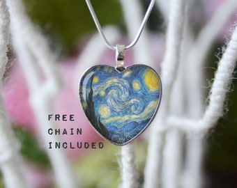 The Starry Night, Vincent van Gogh fine art heart shape necklace. Romantic gift pendant. Free matching chain is included.