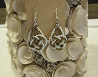 Gold and White Beaded Teardrop Earrings