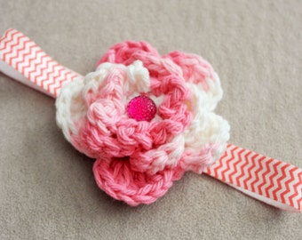 Baby Pink and Whtie Crochet Flower Headband