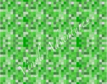 "Pixelated Green Pattern Vinyl, Outdoor Permanent Adhesive Vinyl, 12""x12"", Craft Vinyl, Vinyl Sheet, Oracal 651"