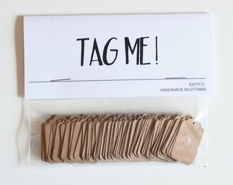 Kraft Paper Tags | Handmade Merchandise Tags | 100 Tiny Tags | Price Tags | Gift Tags | Jewelry Tags | Brown Paper Tags