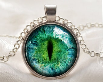 Green Cats Eye Necklace - Green Eye Pendant - Picture Jewelry Gifts for Women