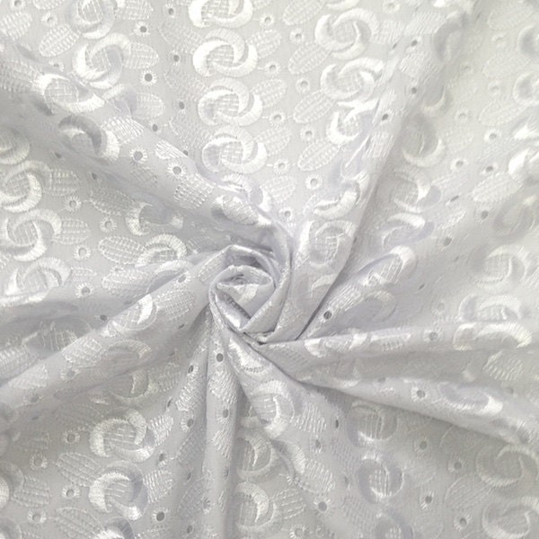 White eyelet spiral embroidery fabric