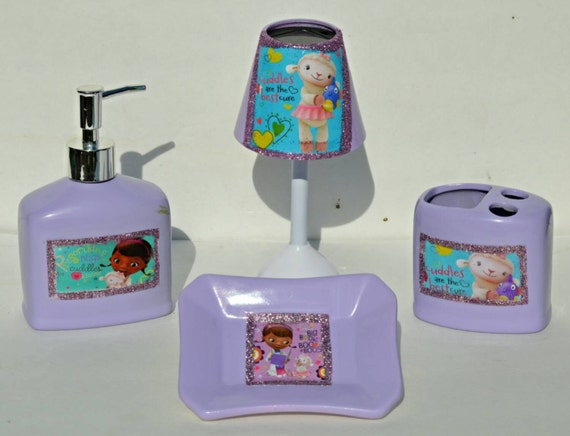 bathroom set inspired by doc mcstuffins by sassybritchez