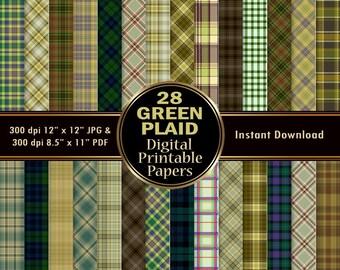 Green Plaid Digital Paper Pack 28 Scrapbook Paper DOWNLOAD Printable Wrapping Graphic Christmas Tartan Pattern 12x12 JPG PDF