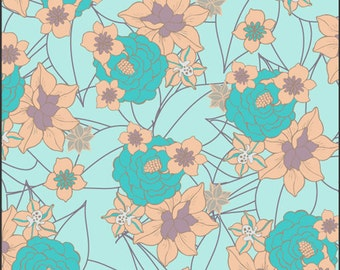 Cotton Fabric by Art Gallery Fabrics Revive Aqua Blossom Clusters RE-8723