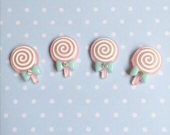 4 Cute pink Lollipop Swirl Cabochon