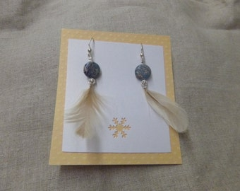 Rock and Feather Dangle Earrings
