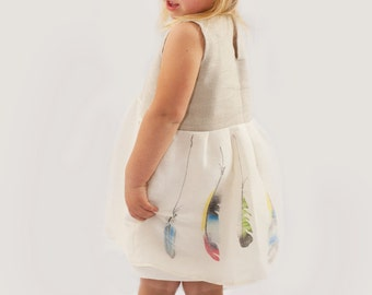 hemp dress with painted feathers for girls