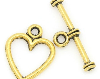 Toggle Clasp, Tibetan Style Heart Clasp, Antique Gold Clasp, (CLP-T-G-3), 5 sets