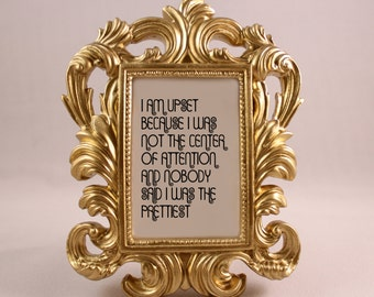 GOLD Framed Quote Blanche Quote GOLDEN GIRLS home decor gift dorm office desk decor humorous quote funny quote center of attention prettiest