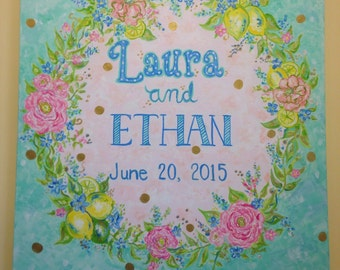 Custom Wedding Painting, Couples Names and date of Wedding.  Great gift for in the home and to be used at wedding. 18 x 24 or 24 x 32