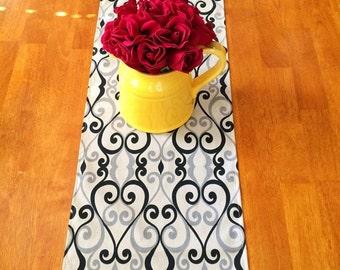 Black Grey Table Runner ~~~Table Runner For Weddings or Home Decor