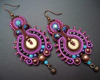 Turquoise-fuchsia unique handmade soutache/soutasz EARRINGS, boho gypsy hippie style