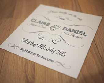 Modern personalised wedding day 'save the date' card SAMPLE
