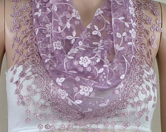 Light purple lace triangle scarf, plum blossom tassel lace scarf, shawl, scarf