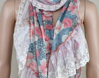 White bud silk joining together scarf, knitting printed scarf, warm scarf and thick scarf, shawl