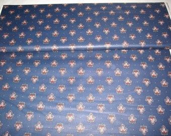VIP Crafters Corners,navy w/ red and green maple leaf design,vintage fabric,by yard,100% cotton