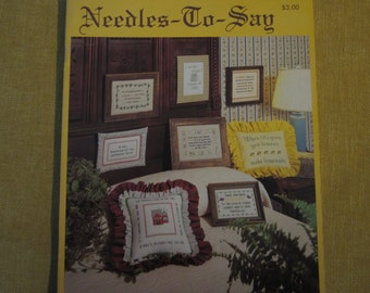 Needles-to Say, 8 cross stitch patterns, sayings,parents love,lemons,prayer,seasons