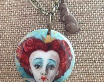 Handpainted Porcelain Tile Necklace-inspired by Queen of Hearts