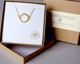 Gold Necklace Delicate Gold Circle Necklace Dainty Gold Necklace Simple Layer Necklace Gold Layering Necklace Gold Filled Chain Gold Filled