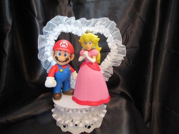 Princess Peach And Mario Wedding Cake Topper