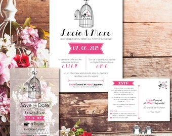 "Wedding Invitation Kit ""Birdcage"" Invitation RSVP + + Save the date, customizable, printable pdf, pro impression possible"