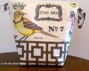 Bird knitting project bag.