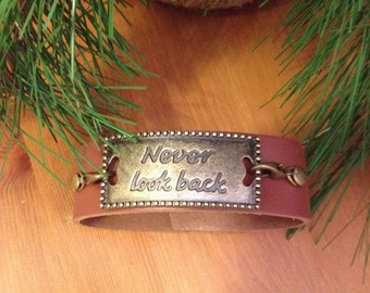 "Brown Leather Bracelet Brown ""Never Look Back"" Leather Cuff Boho Style"