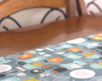 Table Runner – Retro Eggs and Baking - Linen Cotton Blend