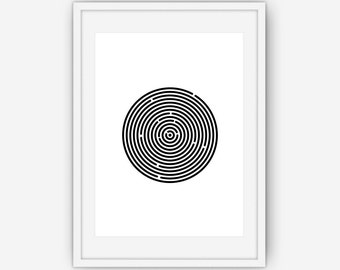 Labyrinth Print, Circle Print, Labyrinth Wall Art, Black and White Print, Black and White Wall Art, Wall Art, Printable, Instant Download