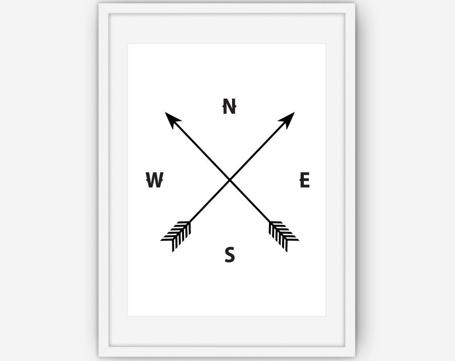 Black arrow and compass print black and white wall art black for Black and white wall art
