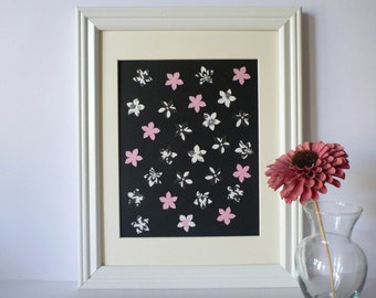 "Flower Paper Wall Art - Black, White and Pink, 10"" x 13"""