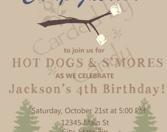 Smores/Campfire Birthday Party Invitation