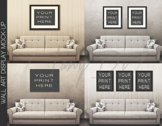 11x14 22x28 33x42 white sofa wall interior 1 black frames for Instant interior wall