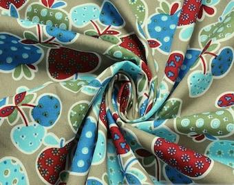 Fabric pure cotton poplin khaki colourful little apple