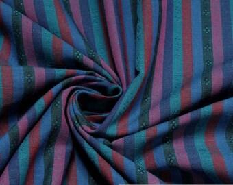Fabric pure cotton stripes blue petrol little flowers