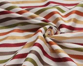 Fabric Trevira® CS satin stripes bordeaux brown green not flammable