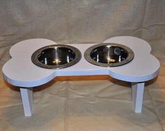 Dog bowl, Elevated dog bowl, dog feeder, bowl holder, gift - painted - white