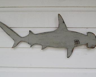"Shark Hammerhead Small 24""w x 10 3/8""h Hand Made Wood Hand Painted Wall Nautical Beach Coastal Sign Decor Hammer head"