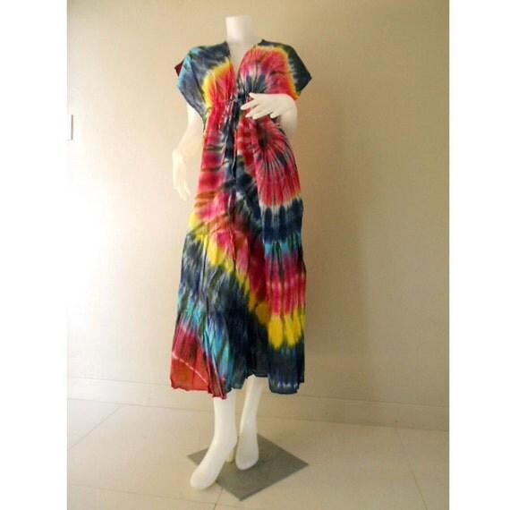 Clorful Handmade Tie Dye Cotton Dress, Boho Hippie Sexy Casual Summer  Beach Sundress, Maxi Kimono  S-L (TD 101)